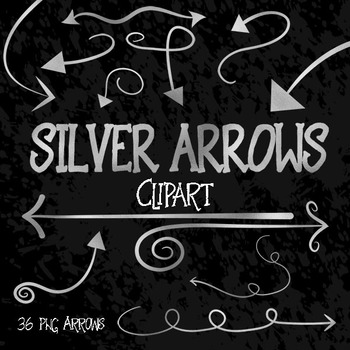 Silver Arrows Clip Art - 36 PNG Files