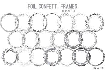 Silver Black Confetti Round Frames 20 PNG Clip Art 8in Foil Metallic S3