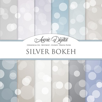 Silver Bokeh Digital Paper sparkle overly light circles scrapbook background
