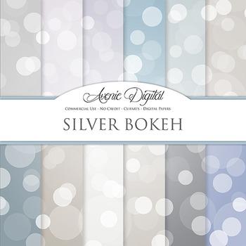 Silver Bokeh Digital Paper sparkle overly light circles sc