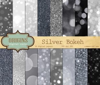 Silver Bokeh Glitter Digital Paper Textures Backgrounds