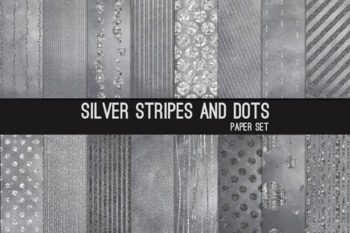 Silver Chevron Stripes Dots 12x12 Printable Scrapbook Paper Texture Background