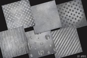 Silver Chevron Stripes Dots 12x12 Printable Scrapbook Paper Texture Background