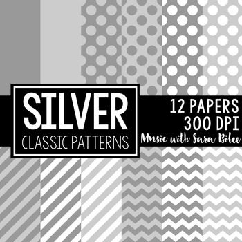Silver Classic Designs- 12 Digital Papers