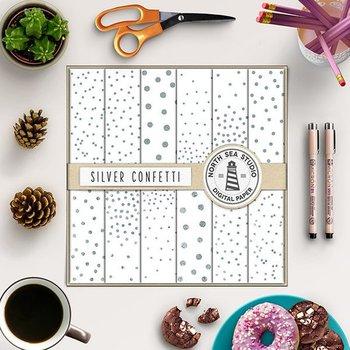 Silver Confetti Digital Paper, Silver Confetti Patterns