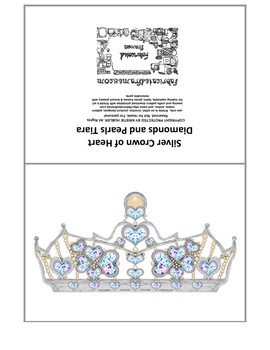 graphic about Printable Tiara named Silver Crown of Center Diamonds And Pearls Tiara 5x7 folded card printable blank