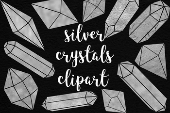 Silver Crystals Clipart, Shiny Foil Crystals Collection, Crystals, Stones, Gems