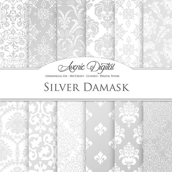 Silver Damask Digital Paper patterns - gold foil ornate fl