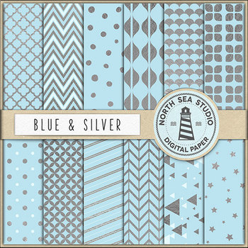 Silver Digital Paper Pack   Baby Blue Backgrounds   Metallic Patterns