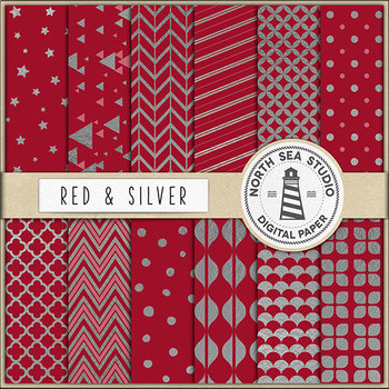 Silver Foil Digital Paper Pack   Red And Silver Paper   Printable Backgrounds