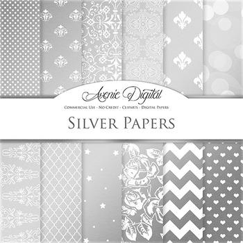 Silver Foil Digital Paper sparkle pattern scrapbook background grey patterns