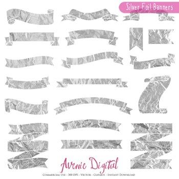 Silver Foil Ribbon Banners clip art - Metallic ribbons clipart, frame, labels