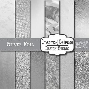 Silver Foil Texture Background Digital Paper 1360