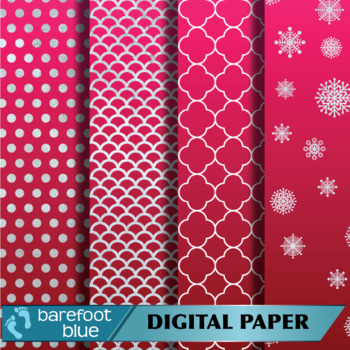 Silver Foil and Cherry Red Digital Paper Set (12 inches by 12 inches)