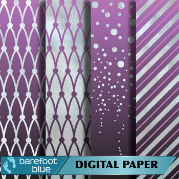Silver Foil and Sugar Plum Printable Digital Paper Set (12 inches by 12 inches)