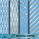 Silver Foil and Winter Blue Printable Digital Paper Set (12 inches by 12 inches)