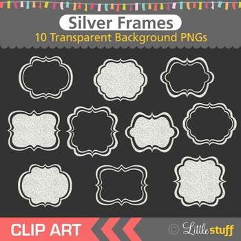 Silver Frame Clip Art, Glitter Frames Clipart