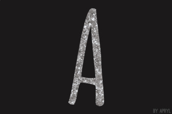 Silver Glitter Alphabet Clip Art Metallic Look 81 PNG Images Letters Numbers