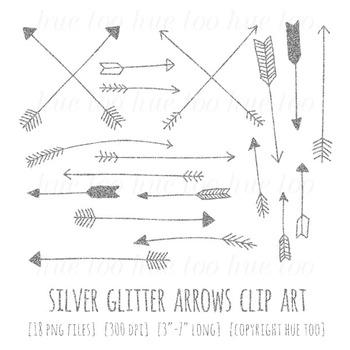 Silver Glitter Arrows Clip Art, Digital Glitter Clip Art for TpT Sellers