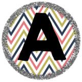 Silver Glitter Border with Chevron Alphabet Labels