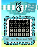 Silver Glitter Button Numbers 0-9
