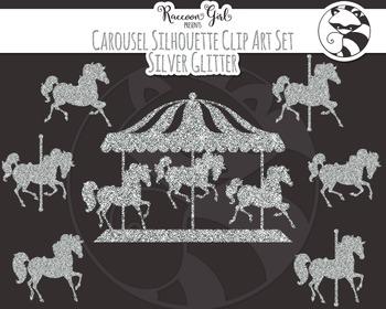 Silver Glitter Carousel Silhouette Clipart Set