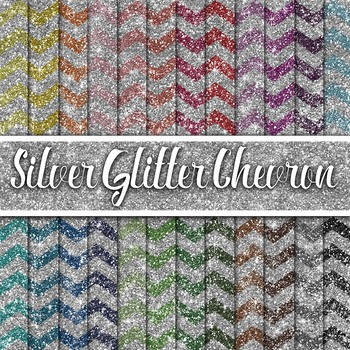 Silver Glitter Chevron Textures - Digital Paper Pack - 24 Different Papers