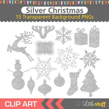 Silver Glitter Christmas Clipart
