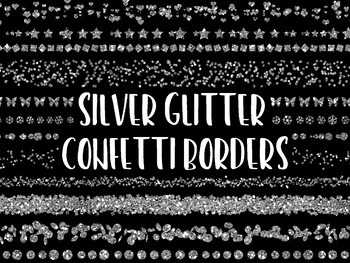 Silver Glitter Confetti Borders and Dividers Clip Art - 35 PNG Files