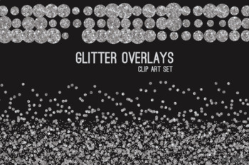 Silver Glitter Confetti Overlays 20 PNG Clip Art for 12x12 Papers