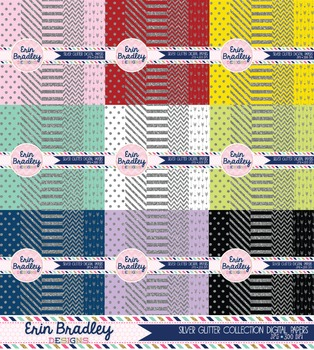 Silver Glitter Digital Paper Bundle