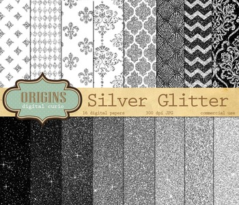 Silver Glitter Digital Paper Pack - Silver Sparkle Backgrounds