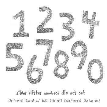 Silver Glitter Numbers Clip Art, Digital Glitter Clip Art, for TpT Sellers