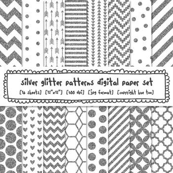 Silver Glitter Patterns Digital Paper, Silver Glitter Text