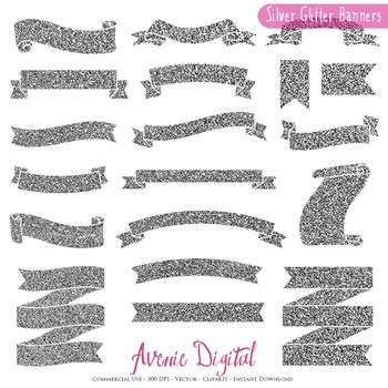 Silver Glitter Ribbon Banners clip art Grey metallic ribbons clipart, labels