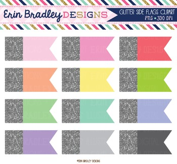 Silver Glitter Side Flags Clipart