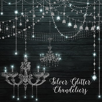 Silver Glitter Sparkle String Lights Chandeliers Clipart