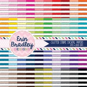 Silver Glitter Stripes Digital Paper Bundle