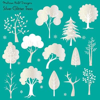 Silver Glitter Trees Clipart