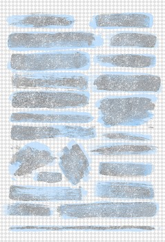 Silver Glitter and Blue paint brush strokes clipart overlays