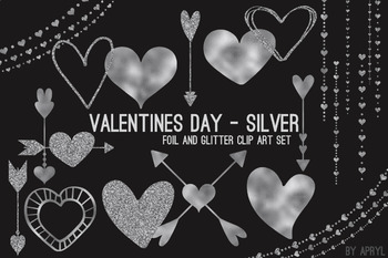 Silver Hearts Valentine's Day Clip Art 74 PNG Glitter Foil Arrows Strands Swags