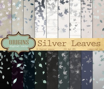 Silver Leaf Confetti Falling Leaves Digital Paper Backgrounds