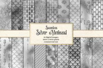 Silver Mermaid Scale Patterns, seamless digital paper backgrounds
