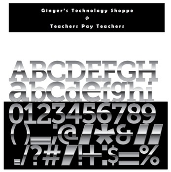 Silver Metallic Characters * Alphabet * Numbers * Punctuation * Symbols