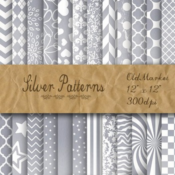 Silver Pattern Digital Paper Designs - 24 Different Papers - 12 x 12