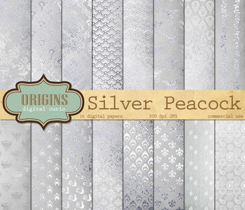 Silver Peacock digital scrapbook paper textures patterns backgrounds