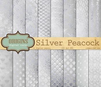 Silver Peacock digital scrapbook paper textures patterns backgrounds