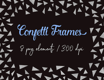 Silver Photo Frames Clipart, Silver Foil Photo Frames, Confetti Borders
