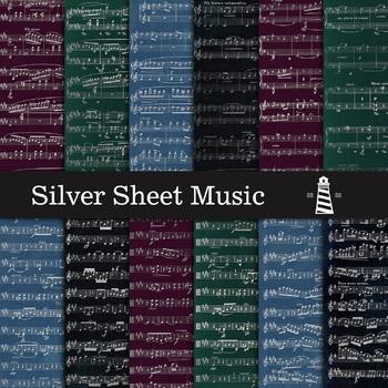 Silver Sheet Music, Silver Sheet Music Digital Paper, 8,5X11 In Musical Themed