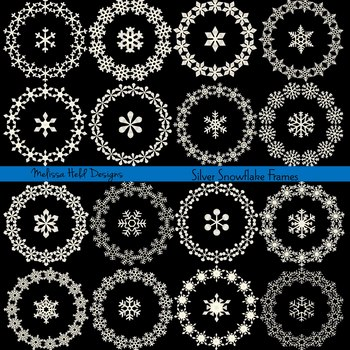 Clipart: Silver Snowflake Circle Frames Clip Art